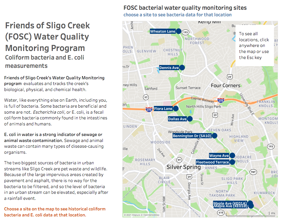 Water Quality Data Visualization for Friends of Sligo Creek